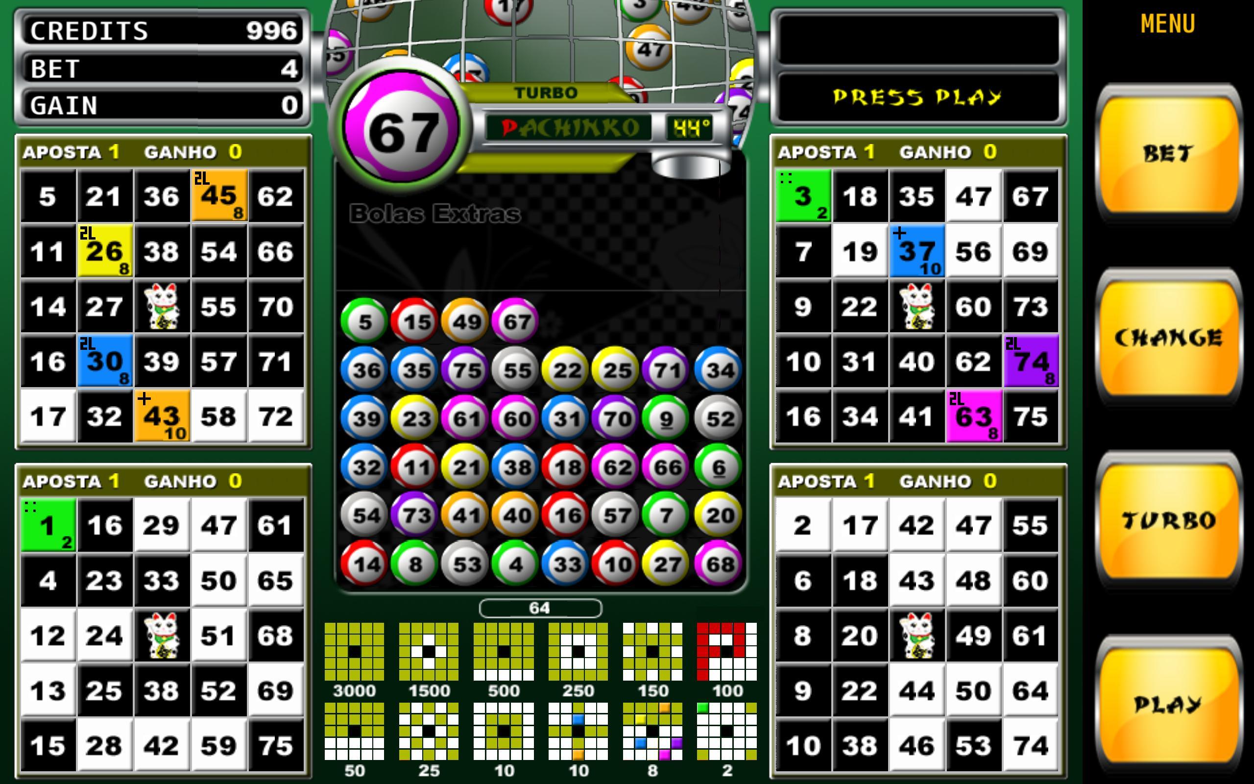 Pachinko vídeo bingo sorte 58054